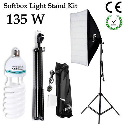 135W Photography Studio Softbox Kit Continuous Lighting w/ 2M Lights Stand UK