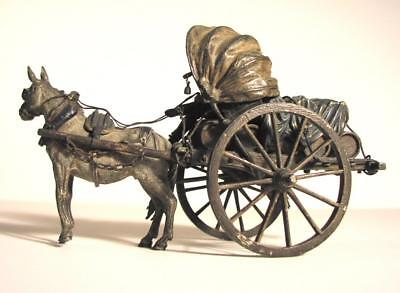 Original Antique Bronze Franz Bergmann Spirits Cart With Horse and Driver