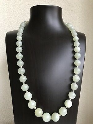Antique Chinese Export Translucent Caladon Jade Necklace Silver Clasp 99 Grams