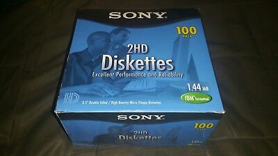 """100 Sony 3.5"""" 1.44MB IBM Formatted Floppy Disks Diskettes NEW FACTORY SEALED"""