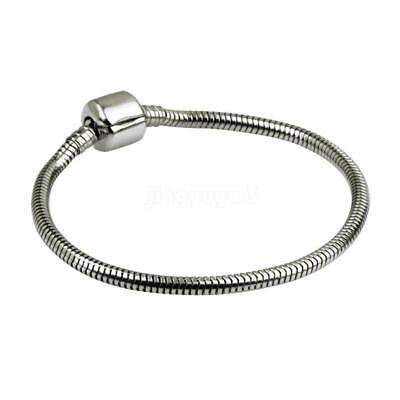 Hot Fit European Beads Fashion Women Stainless Steel Snake Chain Charm Bracelet