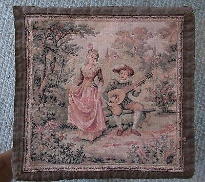 "ANTIQUE OLD 1900's FRENCH TAPESTRY WALL HANGING LOVERS SCENE 10 1/4"" X 10 1/4"""