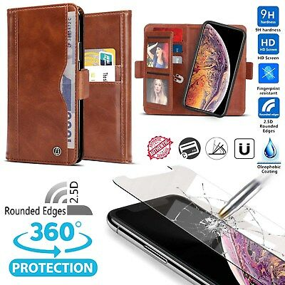 Luxury Fashion Leather Flip Wallet Case for iPhone X Xs Max Xr 7 8 Plus (Brown)