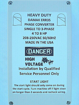 Heavy Duty 4-8 HP Static Phase Converter 208-250V Mill Drill IP65 30Day Warranty
