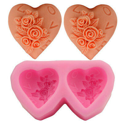 2 In 1 3D Silicone Rose Heart Fondant Cake Mold DIY Craft Soap Mould Tools DIY