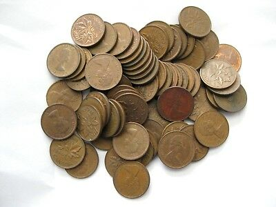 CANADIAN PENNY ROLLS 50 copper coins<>CIRCULATED and in good condition