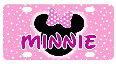 Pink Minnie Mouse Mini License Plate Any Name Personalized Kids