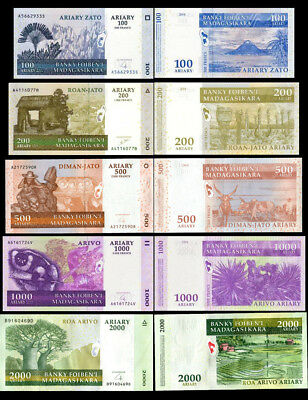 Set of 5Pcs Madagascar 100+200+500+1000+2000 Ariary Paper Money,Uncirculated