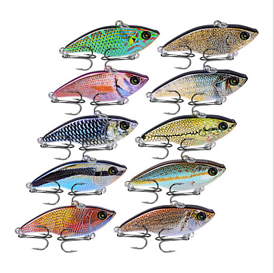 Lot 10pcs Minnow Fishing Lures Crank Bait Hooks Bass Crankbait Tackle 5.4cm/14g
