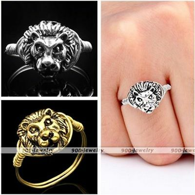 Punk Mens Women Golden/Silvery Metal Lion Head Wire Wrap Finger Ring US 6-9-am