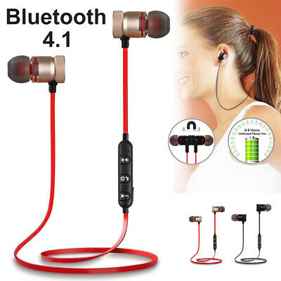 Wireless Magnet Bluetooth 4.1 Stereo Earphone Earbuds Sport Headphone Headset