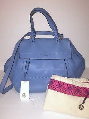 8ee773498a0c9 TORY BURCH LARGE HALF MOON SATCHEL Montego Blue  650 -  175.00 ...