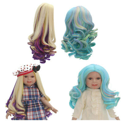 2 Set Gradient Wavy Curly Hair Wig for 18inch American Doll DIY Making