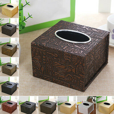 Durable Room Car Pu Leather Square Tissue Box Paper Holder Case Cover