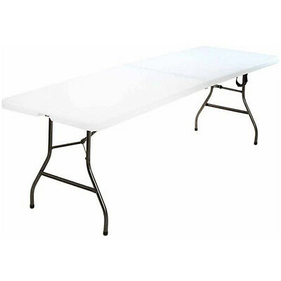 8' PORTABLE FOLDING TABLE Indoor Outdoor Camp Dning Party Picnic Camping White