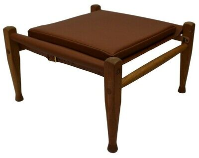 Aniline leather upholstery for the Kaare Klint safari footstool, made in Denmark