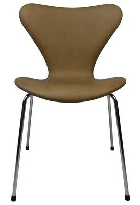 Arne Jacobsen 3107 dining chair, high-quality Silk aniline leather upholstery