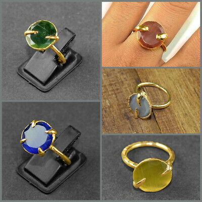 1 Pc Green Monalisa Solitaire 24k Gold Plated Stackable Gemstone Engagement Ring