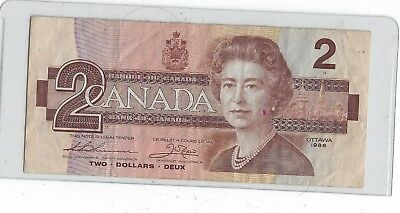 Canada's Last Printed Two Dollar Bank Note 1986 Two Dollar Bank Note
