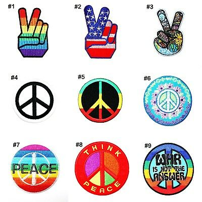 Peace Symbol Finger Hand Sign Hippie Retro Clothes Jeans Jacket Iron on Patch
