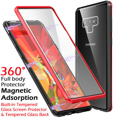 Front Back Glass Magnetic Adsorption Metal Case Cover For Samsung Note 9 S9 Plus
