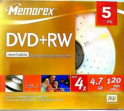 Memorex DVD+RW 4X |4.7GB 120 minute 5 Pack Re-writable Data Media D2 NEW SEALED