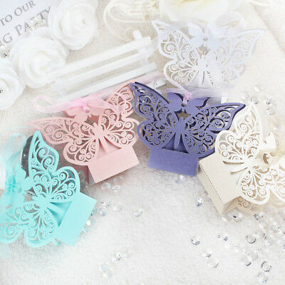 100x Laser Cut Paper Butterfly Sweet Candy Box Gift Boxes Wedding Party Favor