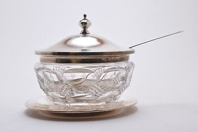 Vintage Frank M Whiting Sterling Silver Top, Dish, Spoon and Crystal Sauce Dish