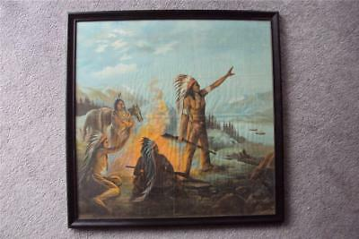 American Indian Lithograph Dated 1908 On Textile 24X24 In. 3 Chiefs Campfire Gun