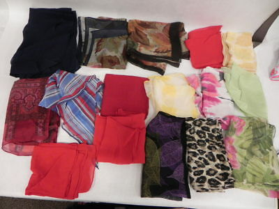Lot Of 16 Vintage Silk And Polyester Chiffon Scarves Women Accessory Multi-Color
