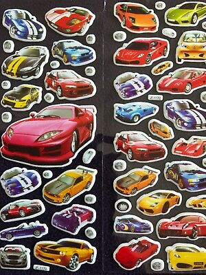 SPORTS CAR Cars childrens Boys Puffy PVC Stickers 10 Packs 2 Different 5 Of Each