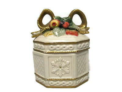 Fitz & Floyd Holiday Christmas Covered Trinket Box Snowy Woods Fruit Bow Leaves