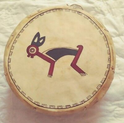 Vintage Native American Indian Hand Made Drum Animal Hide Skin Painted