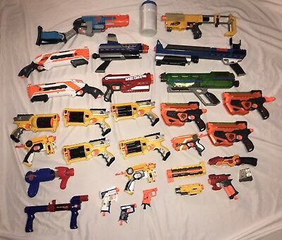 Huge Lot of 20 Nerf Guns Bows Accessories Bullets Fusefires N Strike Zombie