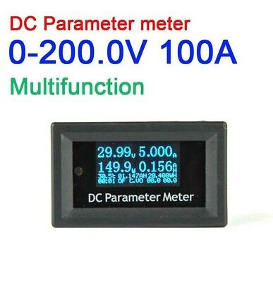Multifunction 200V 100A DC Volt Ammeter Temperature Meter POWER Capacity Energy
