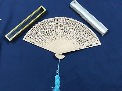 Vintage Ornate Wood Carved Hand Fan With Storage Case Glass Window