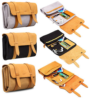 Organiser Bag Storage Portable Foldable Roll Up Accessories Travel Leather Pouch