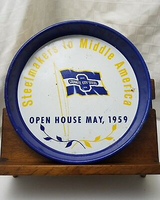 1959 GRANITE CITY STEEL IL Enameled Metal Beer Tray STEELMAKER'S CONVENTION #2