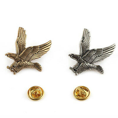 Vintage Flying Eagle Silver/Gold Tone Metal Brooch Scarf Pin Unisex Jewelry G