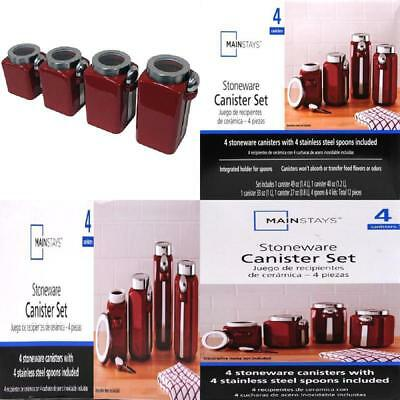 4pc Canister Set Kitchen Countertop Home Pantry Organizer Jar Food