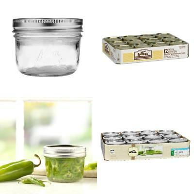Kerr Wide Mouth Half-Pint Glass Mason Jars With Lids And Bands, 8 Oz., 12 Count