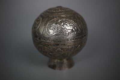 Antique SE Asian White Metal Trinket Box