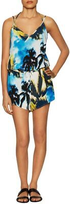 SUBOO  SEXY  CHIC  PALM PRINT  V- NECK  PLAYSUIT  ROMPER  Sz 4  UK 8  NWT $ 190