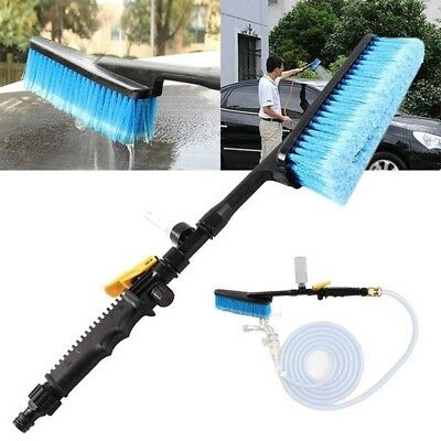 Car Soft Wash Brush Cleaning Tool Water Flow Switch Retractable Long Handle