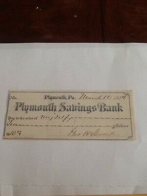 Plymouth Savings Bank 1884 Check Plymouth Pa. $10 Check Vintage Check