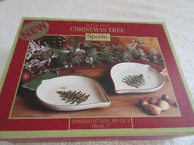 Spode China Ornament Dish Dishes Set of 2~Christmas Tree~7""