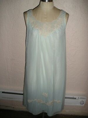 VTG 50s KAYSER  AQUA BLUE  NYLON CHIFFON Double Layer SHORT GOWN Lace ss S NOS