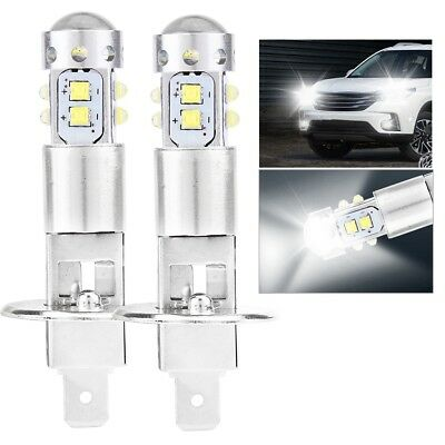 2X 100W H1 750LM 6000K White LED Car Fog Light Bulb DRL Driving Light Headlight