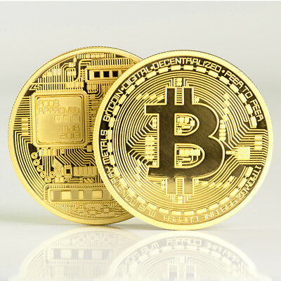 BITCOIN Gold Plated Physical Bitcoin in protective acrylic case Collectible Coin