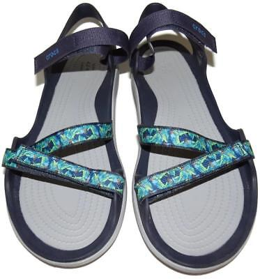 4393b48b6b07 CROCS 204804 ICONIC Comfort Swiftwater Webbing Navy Sandals Womens ...